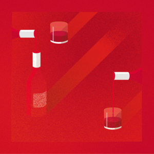 illustration du boudoir avec les bouteilles de vin rouge