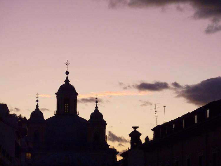 Madrid on sunset, sky is purple