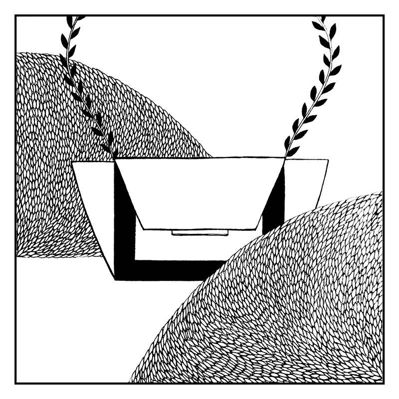 vegetable bag, white and black illustration