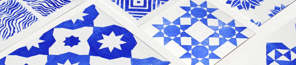 papiers linogravés tamponnés