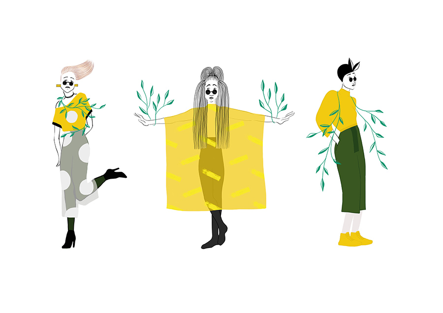 girls in yellow illustration for people in the wild, green version