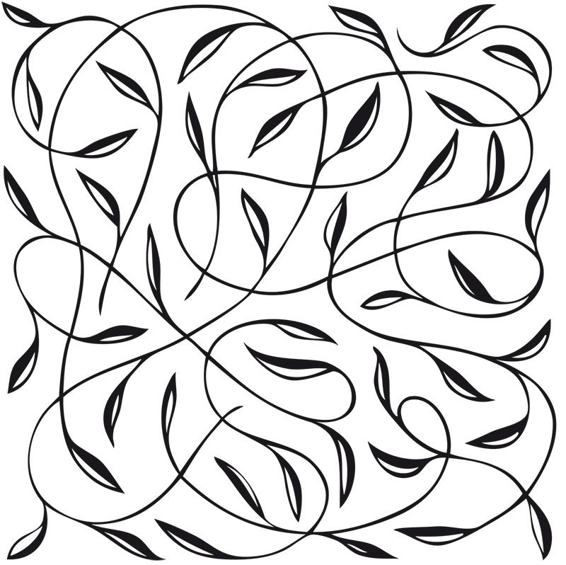 végétation de feuilles et feuillages en noir et blanc dessinés à la main