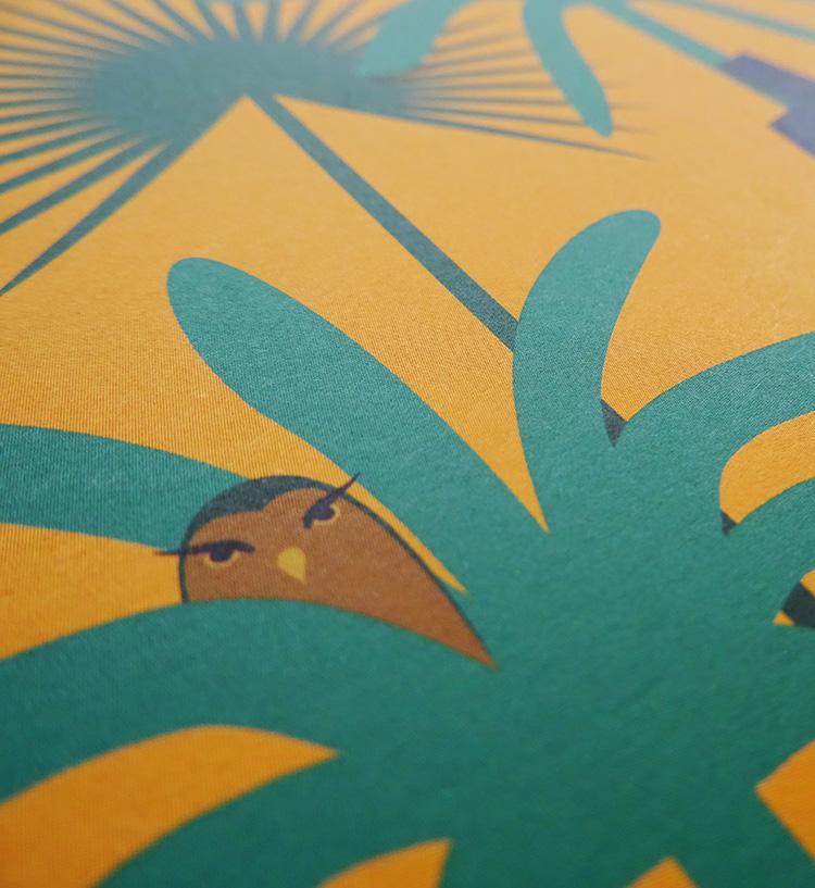 dessin de chouette dans un arbre, illustration pour l'exposition jungles