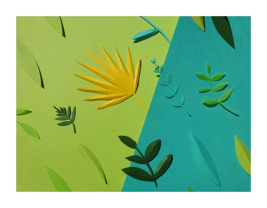 palmiers et feuilles découpées naturellement à la main