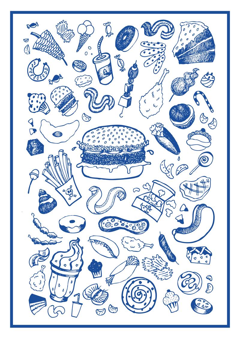 illustration manuelle d'hamburger et bouffe