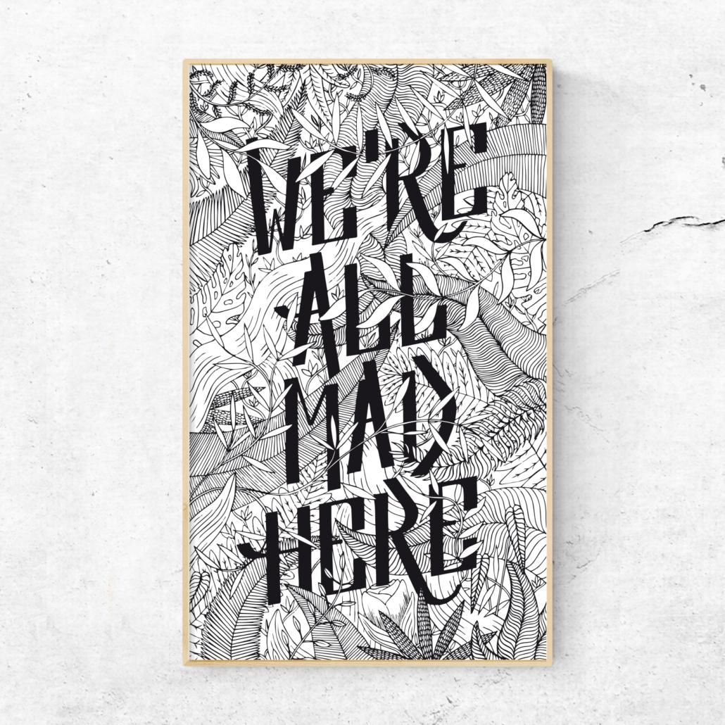 poster typographique dessiné à la main