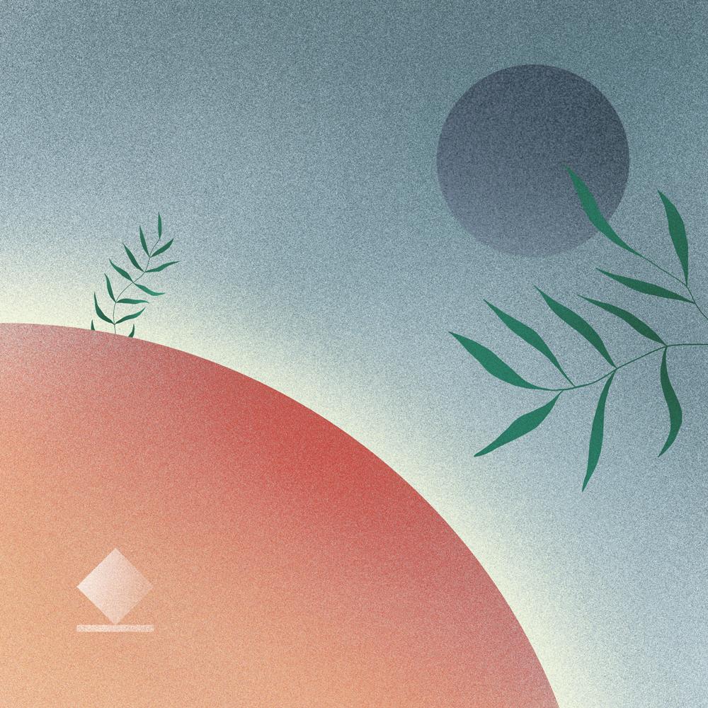 illustration d'horizons gris avec plante devant