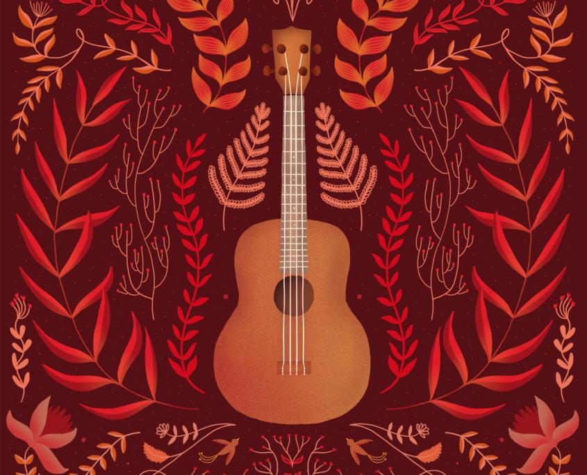 illustration folk guitare