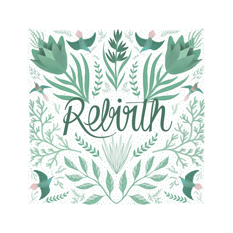 faire part rebirth vert clair