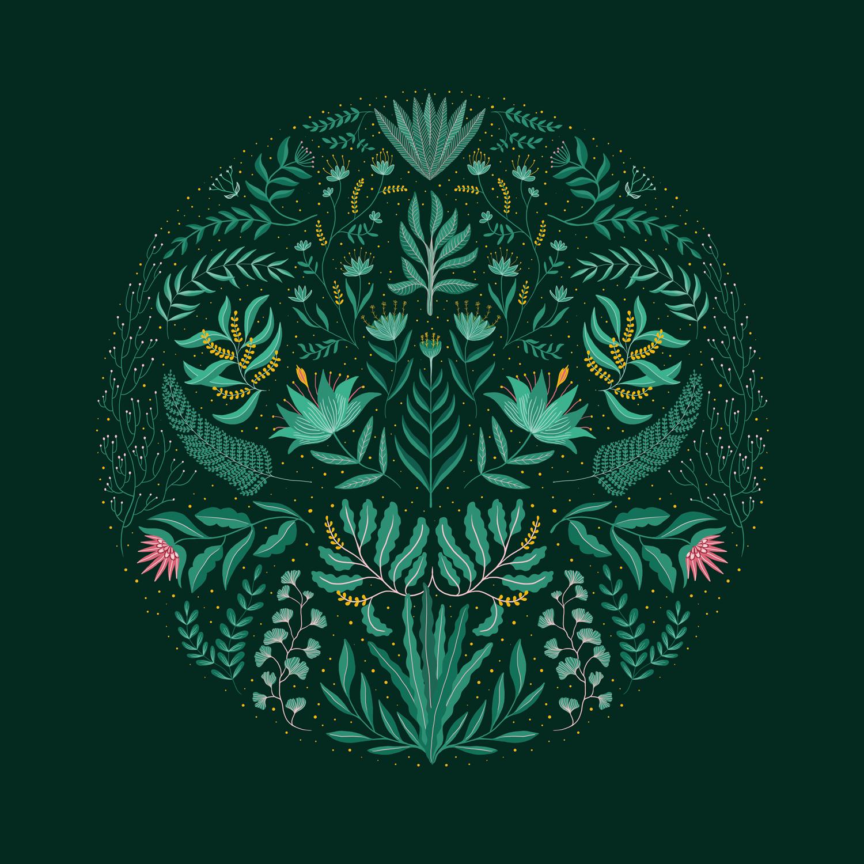 illustration folk verte et rose