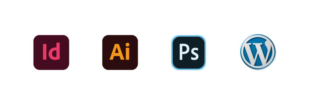 logos des logiciels illustrator, photoshop, indesign, et wordpress