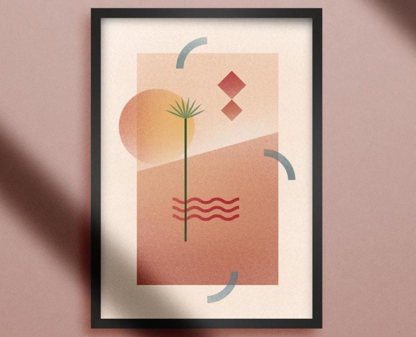 Poster Palm Vague orangée dunes